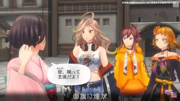 Screenshot from a Sakura Revolution cutscene that features Shino Sakura talking with a blonde woman in a T-shirt, a brown-haired woman in an orange hoodie, and a red-haired woman in a black dress.
