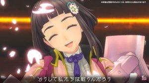 Screenshot from Sakura Revolution, which features Shino Sakura smiling at the camera.