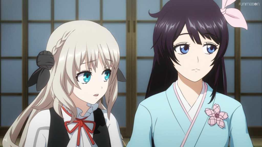 Sakura Wars the Animation still - Sakura Amamiya and Klara look off-camera with a suspicious expression.
