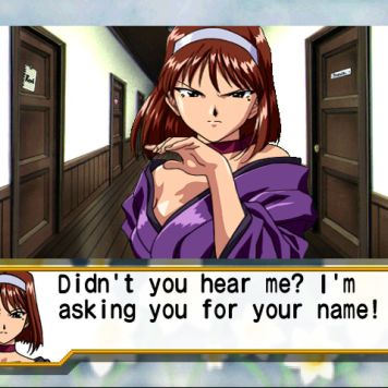 Gameplay still from Sakura Wars: Hanagumi Taisen Columns 2. Text: Didn't you hear me? I'm asking for your name!