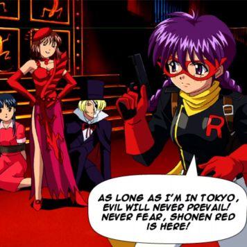 "Screenshot from Sakura Wars: Hanagumi Taisen Columns 2. Text: ""As long as I'm in Tokyo, evil will never fear. Shonen Red is here!"""