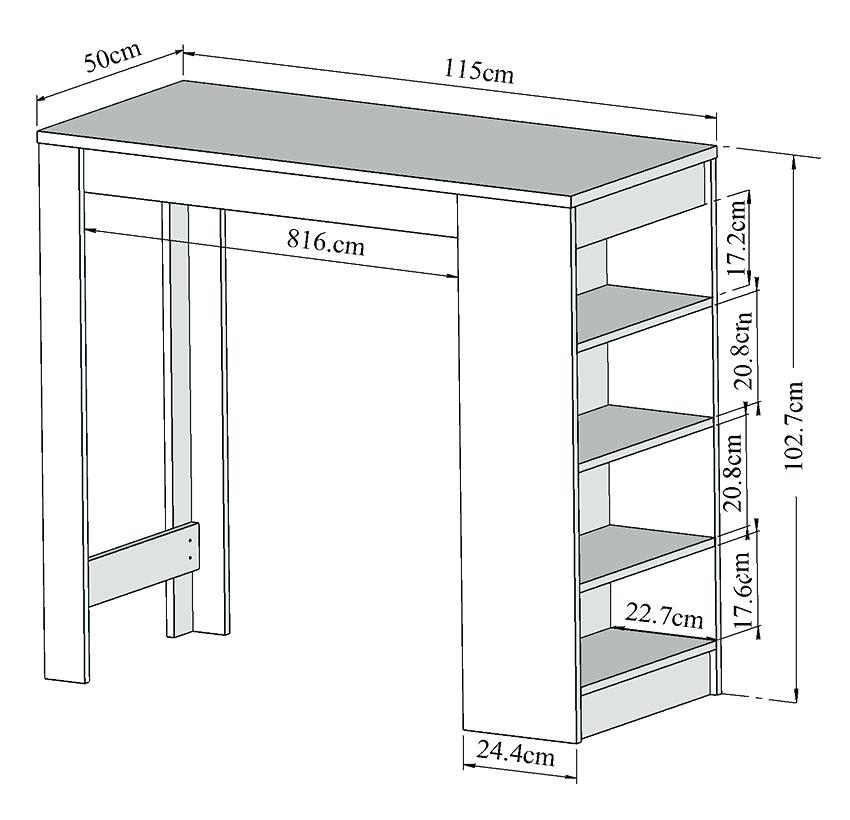table de cuisine haute avec rangement
