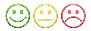 Smiley content, neutre et mécontent