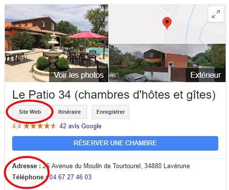 Informations de contact d'un hôtel sur Google My Business