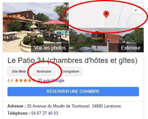 Fonction Itinéraire dans Google My Business (Hôtels et chambres d'hôtes)