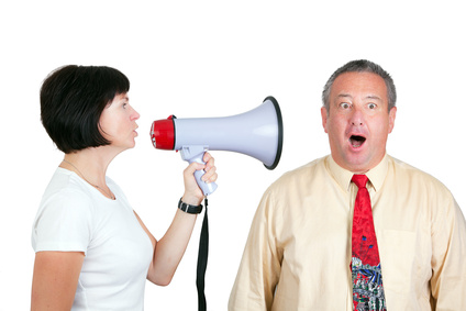 Woman and man with megaphone