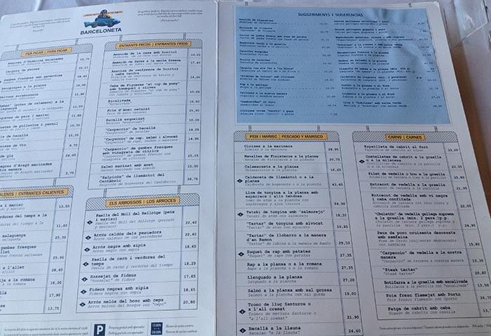 menu restaurant barceloneta