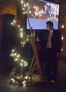 Jeremy Sutton artist booking painter using iPad