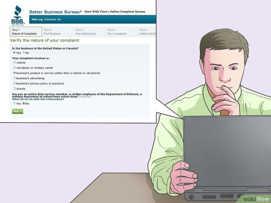Immagine titolata File a Complaint With the Better Business Bureau Online Step 4