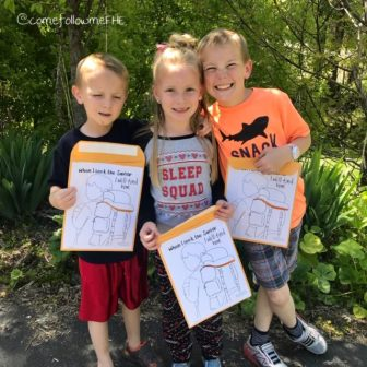 kids on nature hunt for primary lesson