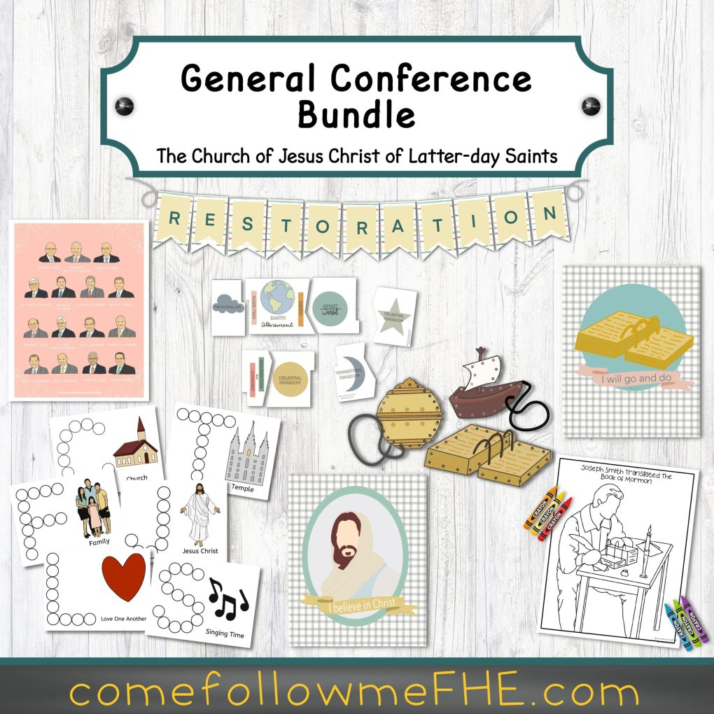 How to Enjoy General Conference with Kids featured by top LDS Primary activity store, Come Follow Me FHE.