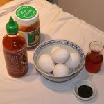 Photo of the ingredients for the kimchi frittata