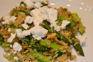 Photo of an asparagus and bulgar salad