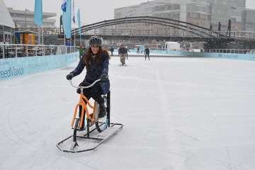 Ice Biking at Canalside in Buffalo, NY