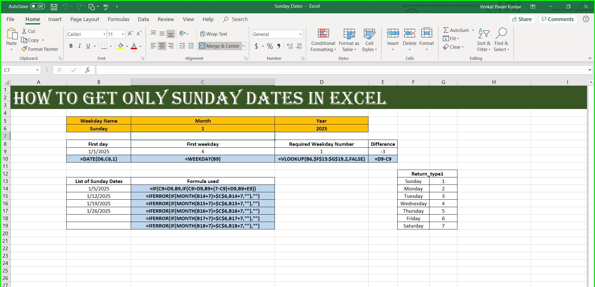 Get One Particular Weekday In Excel