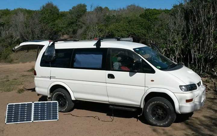 Delica with portable solar panels