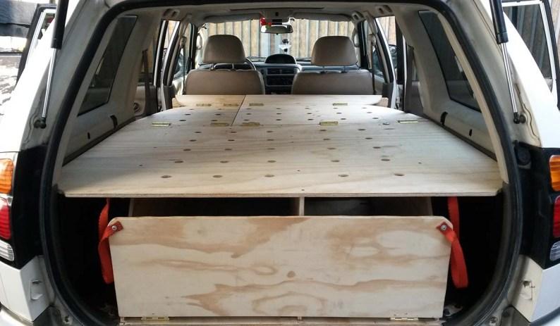 1 rear view complete Montero Sport camper wagon conversion