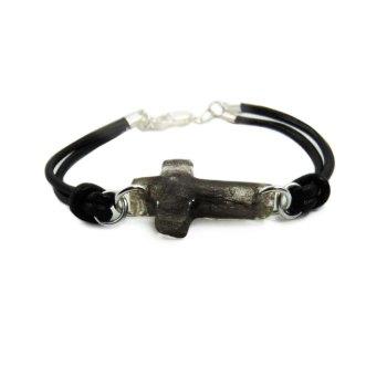 Cross memorial bracelet on genuine leather