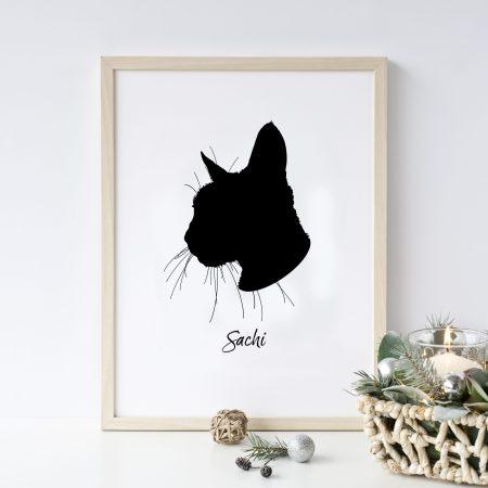 cat silhouette print
