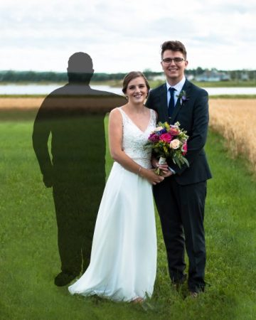 lost loved one in wedding photo