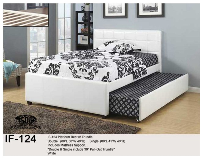 If 107 Platform Bed Single Double And Queen Size White Metal Includes Mattress Support