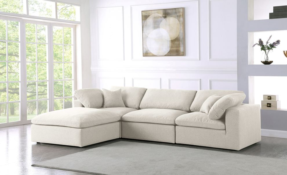 serene 4 cream sectional sofa