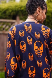 TildaKimono Skull Kimono Orange and Navy