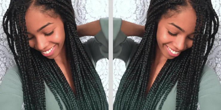 Green Ombre Box Braids | Natural Hair Blogger | Coloured Protective Style