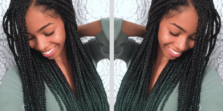 Ombre Green Box Braids | Natural Hair Blogger | Coloured Protective Style