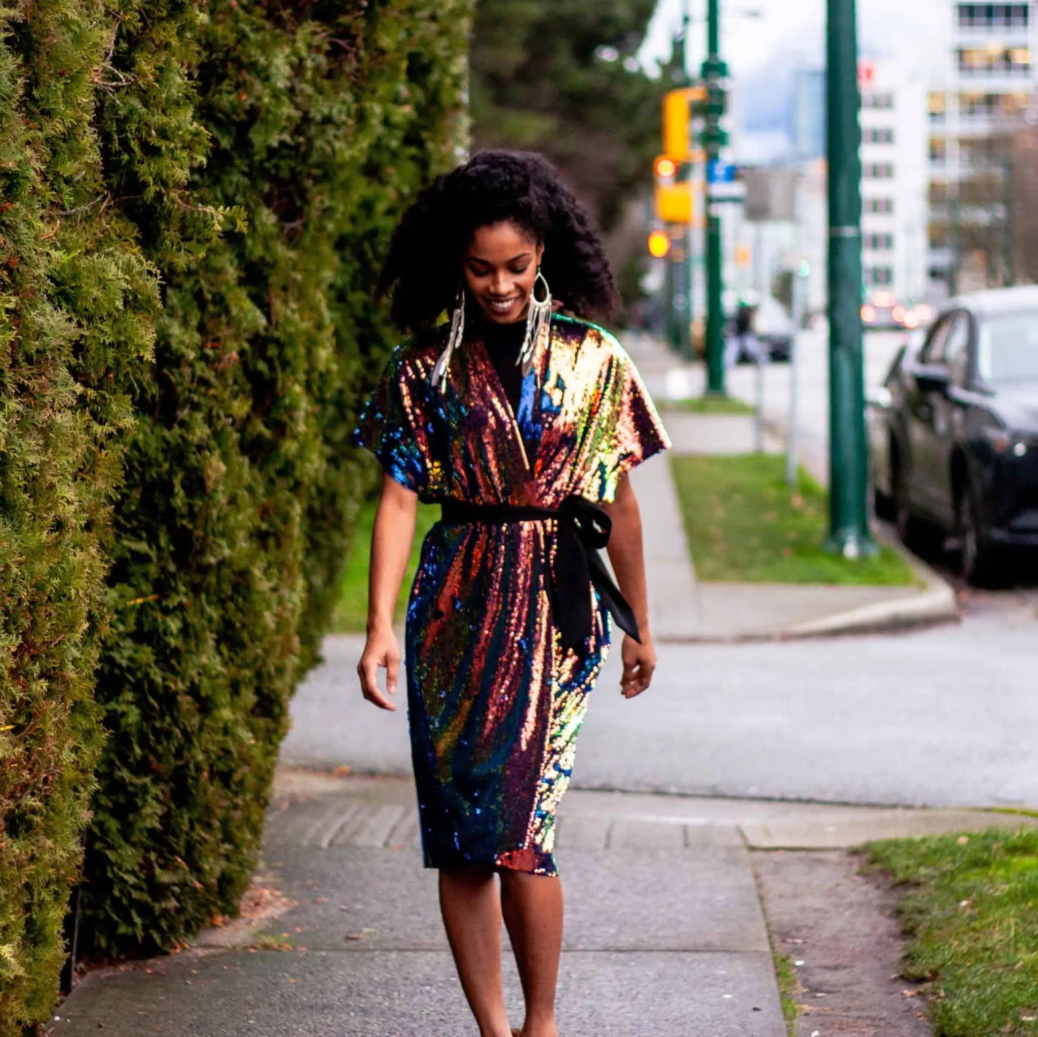 Sequinned Tilda Kimono Robe on Black Canadian Natural Hair Blogger