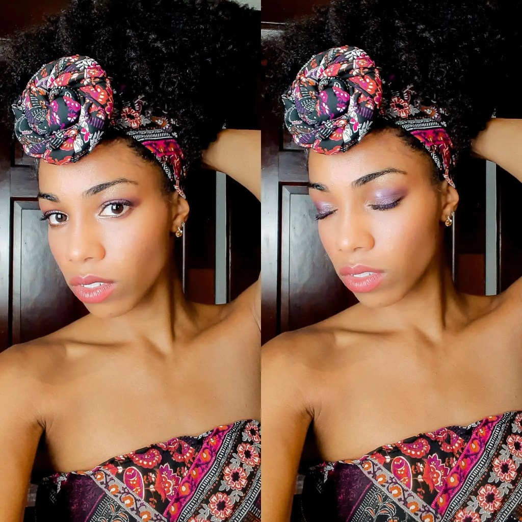 Black Blogger | Comfy Girl With Curls | @Comfygirlcurls Purple Patterned HeadWrap head band, coiled in a top knot. Head wrap styles.