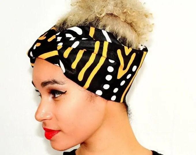 NasikaWax |  Black, white yellow fabric Headwrap