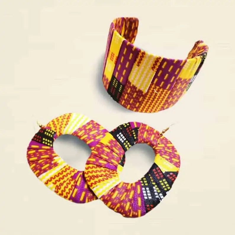 African fabric bangle/african earring | Canadian Etsy Seller