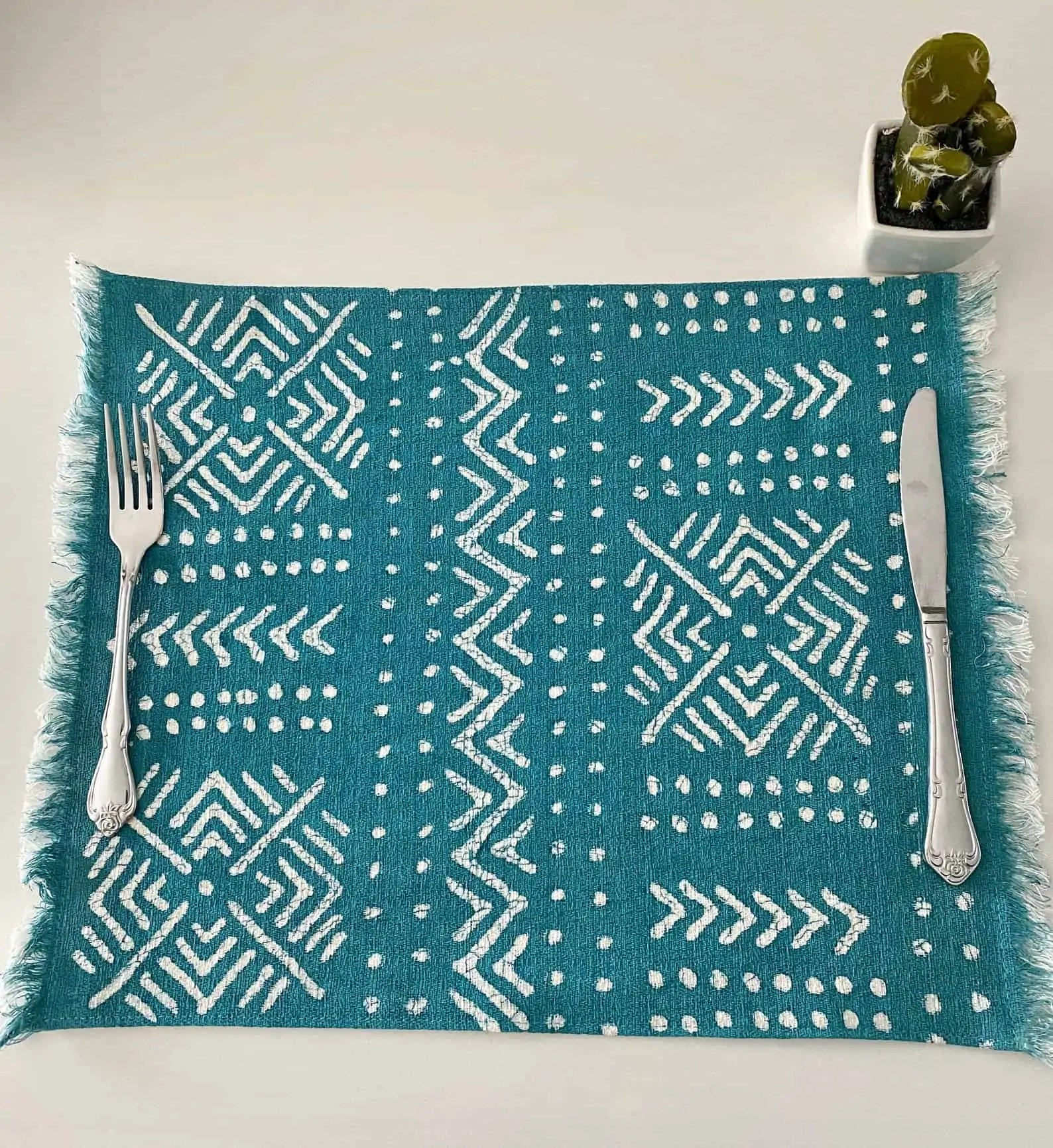 BatiquaGifts Buy Black | Canadian Etsy Shop African FairTrade Textiles | Blue Patterned PlaceMat