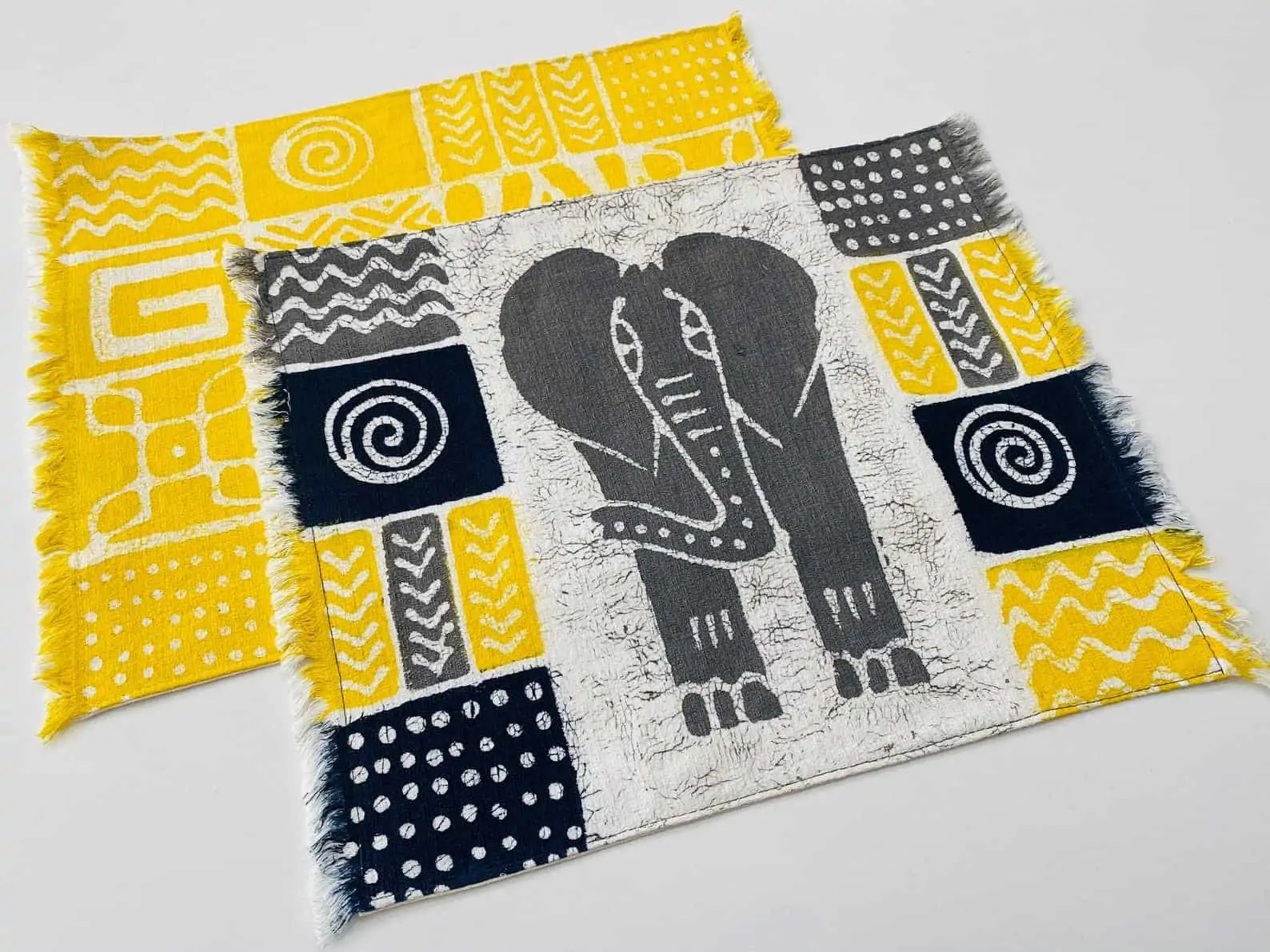 BatiquaGifts Buy Black | Canadian Etsy Shop FairTrade African Textiles | Yellow Place Mat