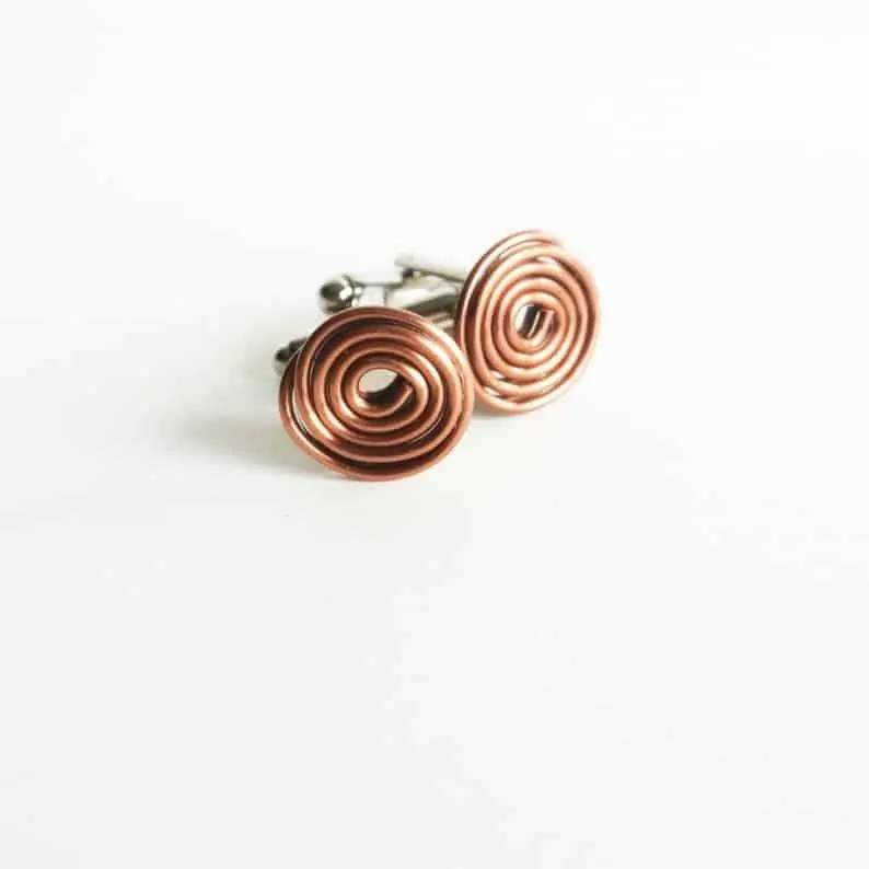 Coiled Copper cufflinks, best gifts for him