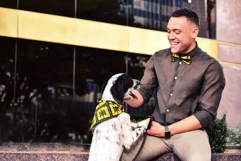 Afrocentric Etsy Gifts for men   African Print Yellow Bow Ties and Dog Bandana