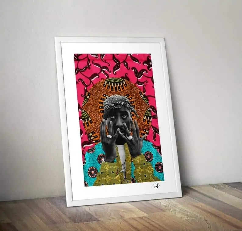 Tupac Art Print   Black-owned Etsy gifts for Him