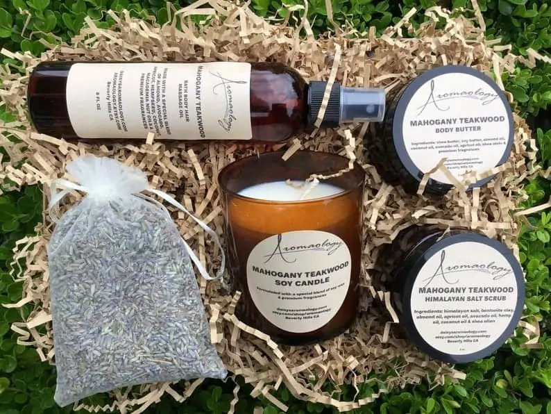 Black-owned Etsy Gifts For Men: Aromaology Bath and body spa kit