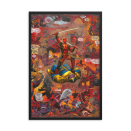Deadpool Versus Thanos Comic Canvas Framed Reproduction Print