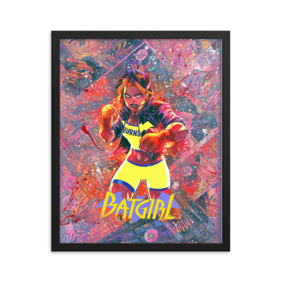 Batgirl Comic Canvas Framed Reproduction Print
