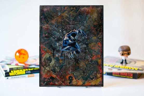Black Panther Venom | One of A Kind Handmade Marvel Comic Book Canvas