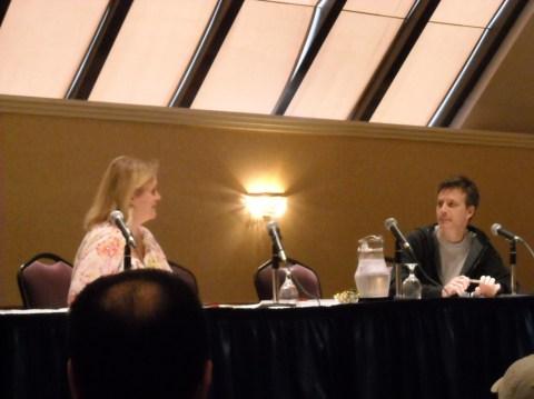 Eva Volin (moderator) and Bill Amend