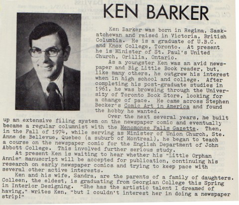Comic strip historian, Kenneth S. Barker from a 1981 issue of Strip Scene.