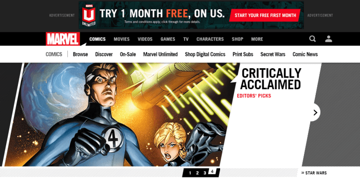 Marvel Unlimited home page