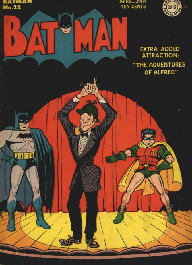 """This Dick Sprang cover is the first Batman cover to feature Alfred, starting his new four page short story feature """"The Adventures of Alfred"""" for 13 issues in the 'Batman' publication."""
