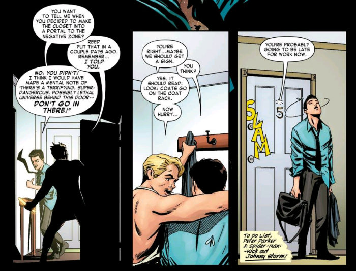 Human Torch and Spider-Man in a shared apartment