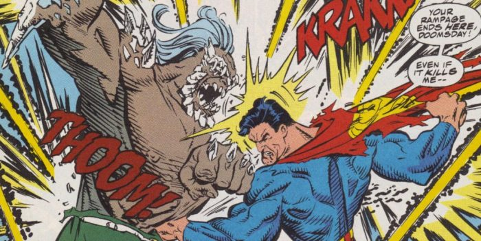 Superman punches Doomsday