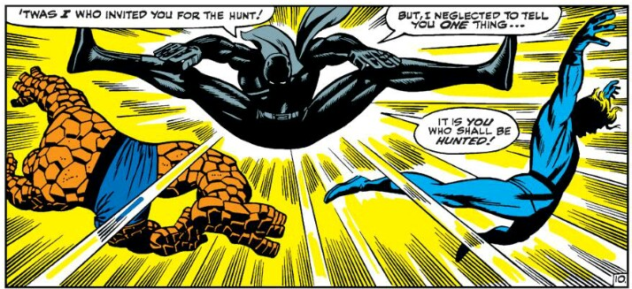 Black Panther kicks the Thing and Human Torch