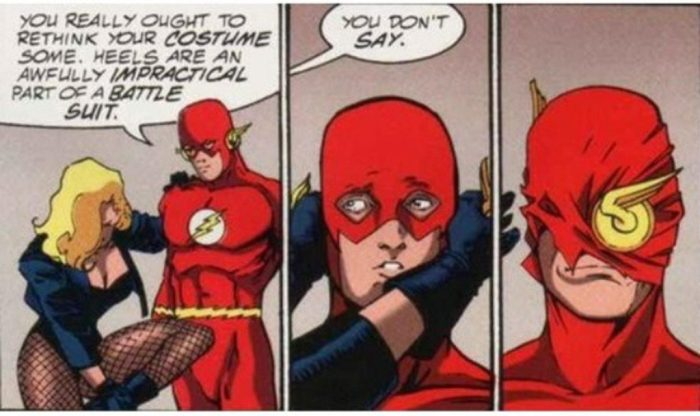Black Canary teaches flash about superhero costumes